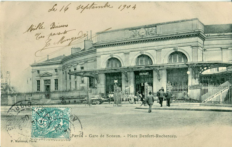 Carte postale ancienne Gare de Sceaux - Place Denfert Rochereau à Paris 14e