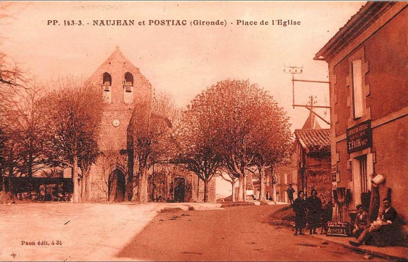 Carte postale ancienne Naujan-et-Postiac église de Naujan 2