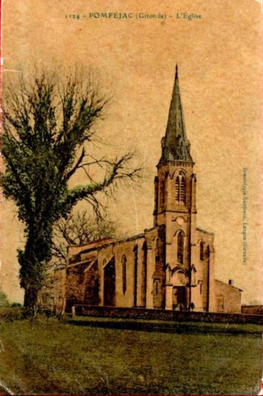 Carte postale ancienne Pompéjac - église 1b à