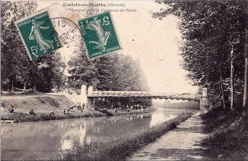 Carte postale ancienne Castets-en-Dorthe - concours de pêche 1 à