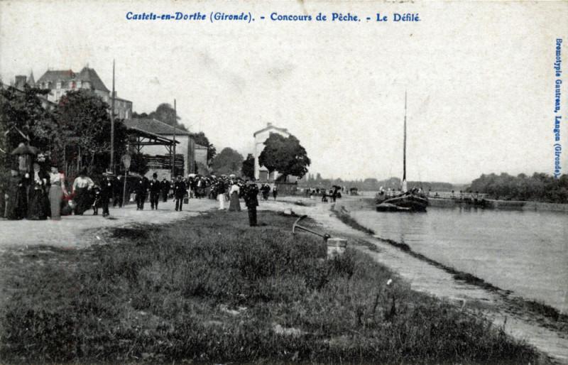 Carte postale ancienne Castets-en-Dorthe - Concours de pêche 5 à