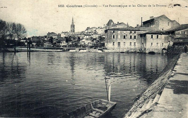 Carte postale ancienne Coutras - chutes de la Dronne à