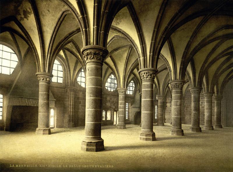 Carte postale ancienne Flickr - …trialsanderrors - Knights' hall, la Merveille, abbaye de Mont-Saint-Michel, Normandy, France, ca. 1895 au Mont-Saint-Michel