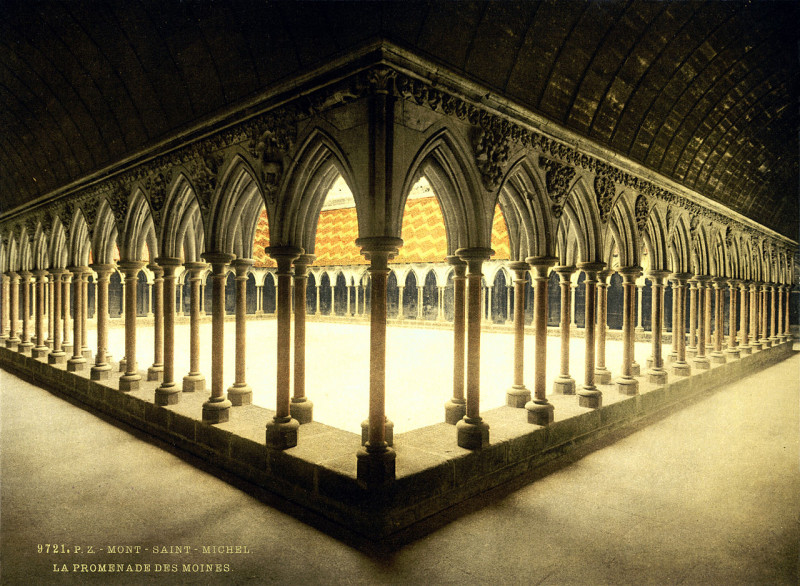Carte postale ancienne Flickr - …trialsanderrors - Monks' cloister, abbaye de Mont-Saint-Michel, Normandy, France, ca. 1895 au Mont-Saint-Michel