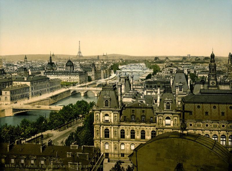 Carte postale ancienne Panorama of the seven bridges, Paris, France, between ca. 1890 and ca. 1900 à Paris 4e