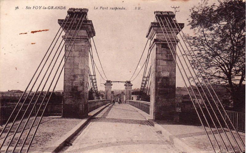 Carte postale ancienne Sainte-Foy-la-Grande - pont suspendu 1 à