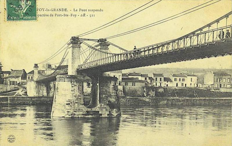 Carte postale ancienne Sainte-Foy-la-Grande - pont suspendu 2 à