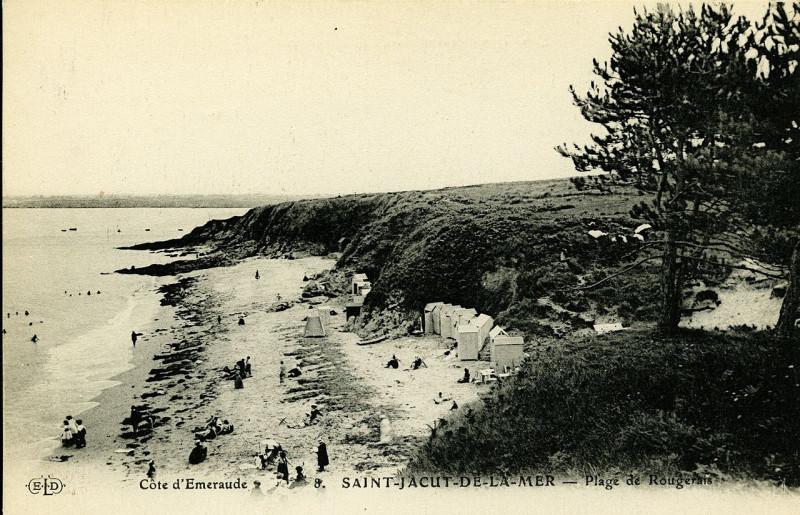 Carte postale ancienne Saint-Jacut-de-la-Mer - Plage de Rougerais à Saint-Jacut-de-la-Mer