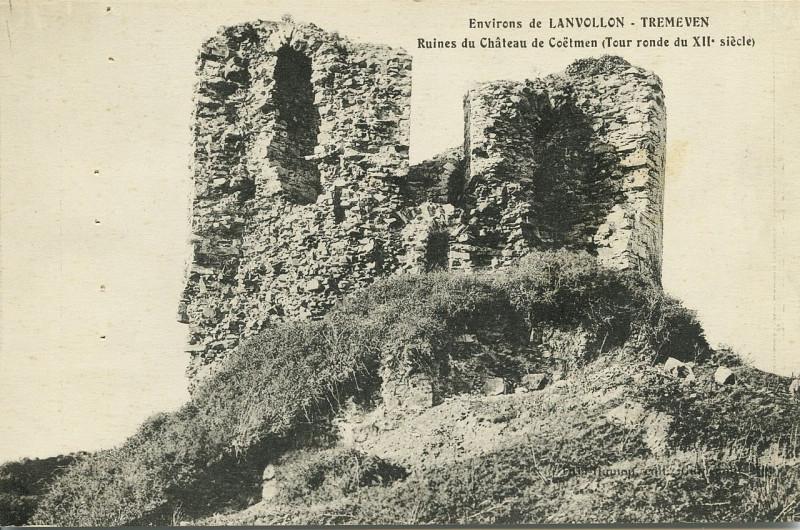 Carte postale ancienne Tréméven - Ruines du château de Coëtmen tour ronde à Tréméven