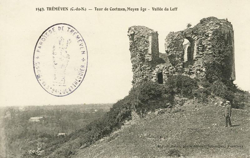 Carte postale ancienne Tréméven - Tour de Coëtmen et vallée du Leff à Tréméven