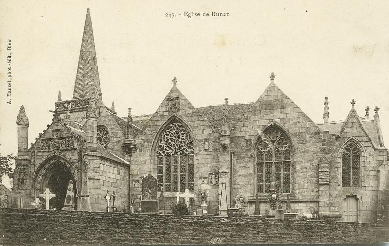 Carte postale ancienne Runan - Eglise à Runan