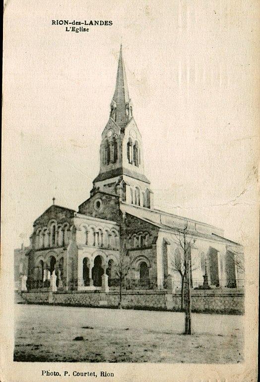Carte postale ancienne Rion-des-Landes - église