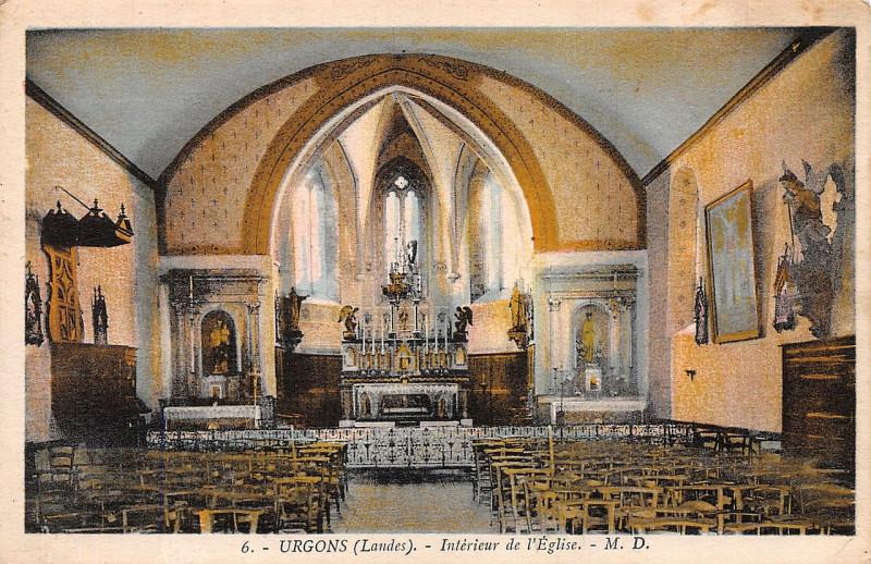 Carte postale ancienne Urgons (Landes) - église 5 à