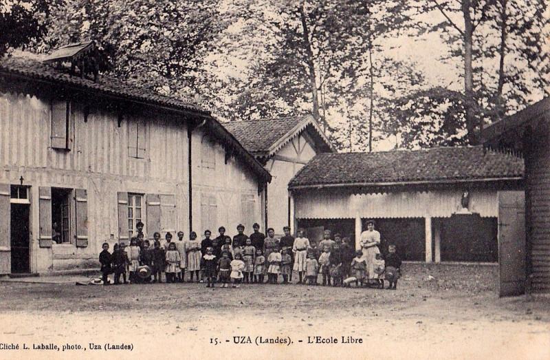 Carte postale ancienne Uza (Landes) - L'école libre à
