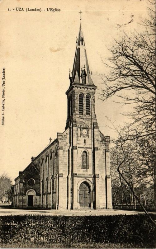Carte postale ancienne Uza (Landes) - L'église 1