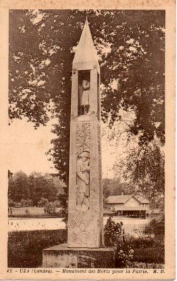 Carte postale ancienne Uza (Landes) - monument aux morts 1 à