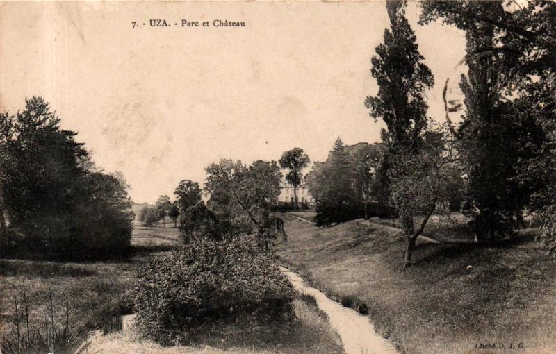 Carte postale ancienne Uza (Landes) - Parc du château 1