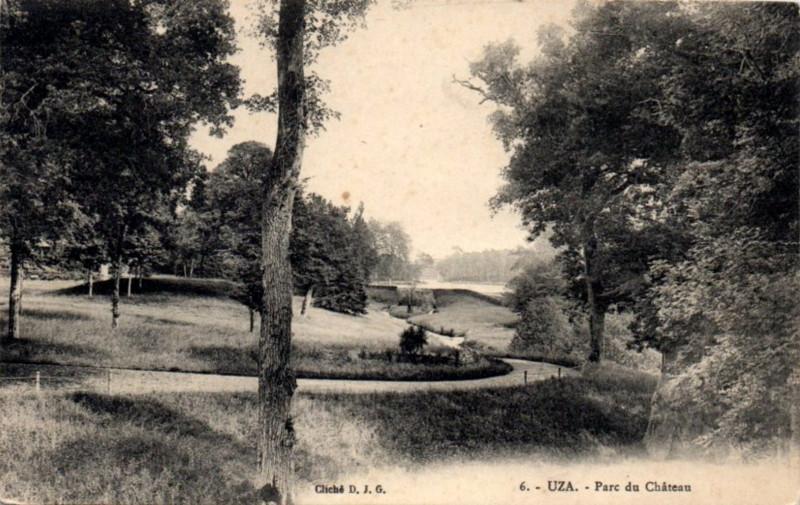 Carte postale ancienne Uza (Landes) - Parc du château 2