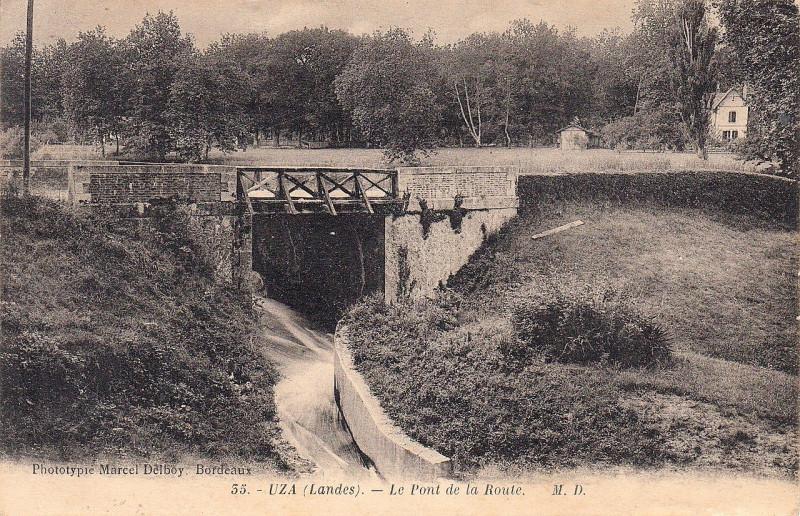 Carte postale ancienne Uza (Landes) - pont de la route 1a