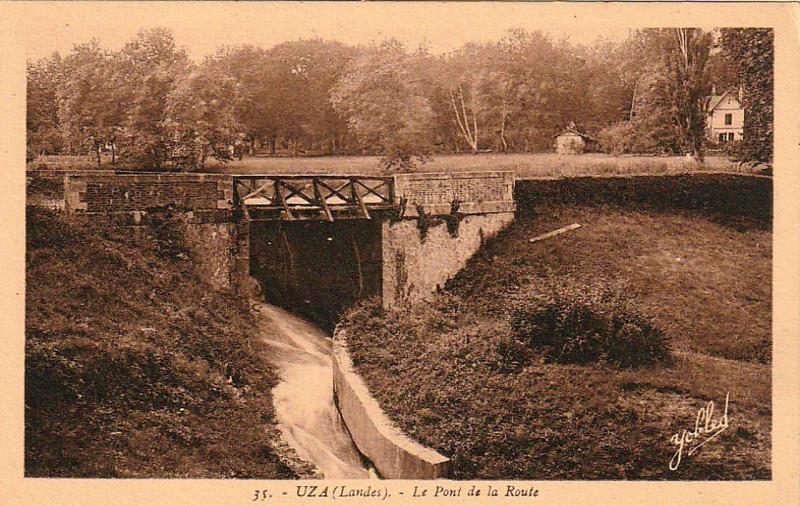 Carte postale ancienne Uza (Landes) - pont de la route 1b