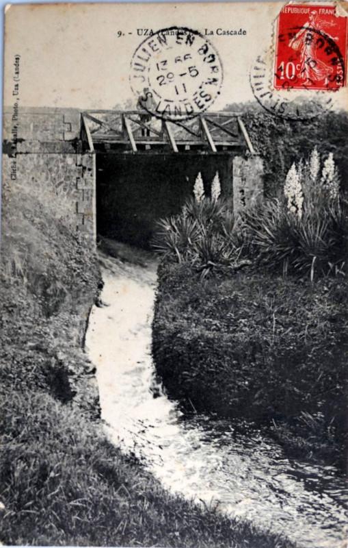 Carte postale ancienne Uza (Landes) - pont de la route 3