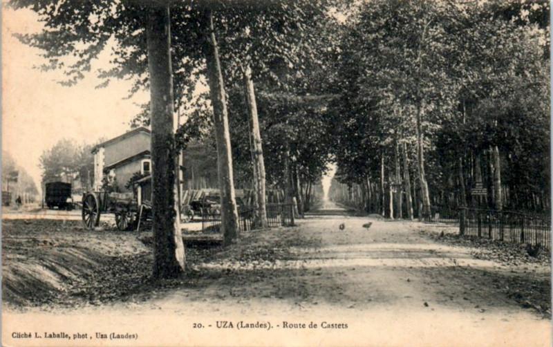 Carte postale ancienne Uza (Landes) - route de Castets 2
