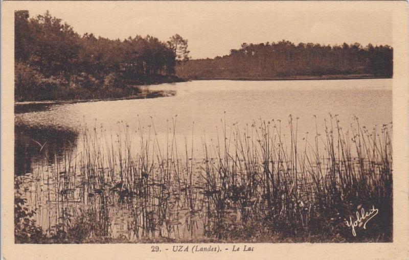 Carte postale ancienne Uza (Landes) - vue sur l'étang 1b