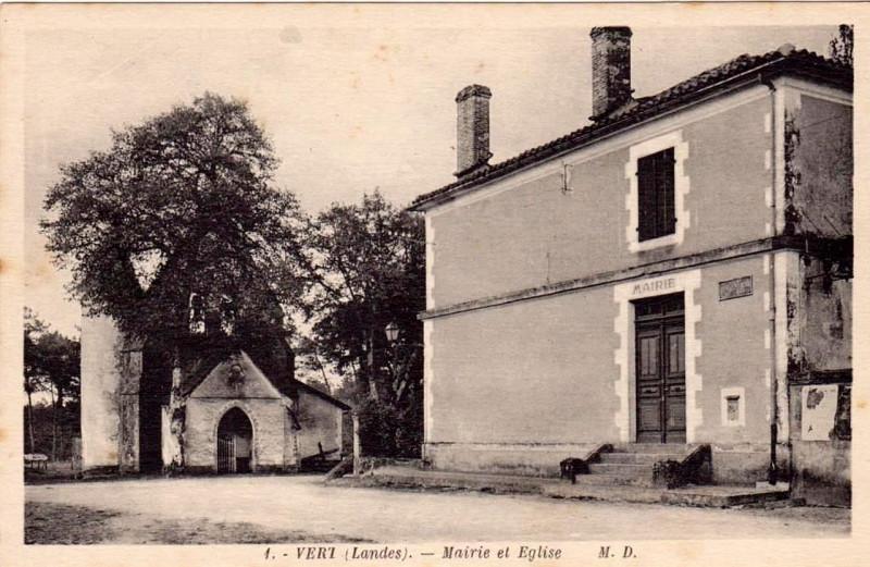Carte postale ancienne Vert (Landes) - Mairie et église