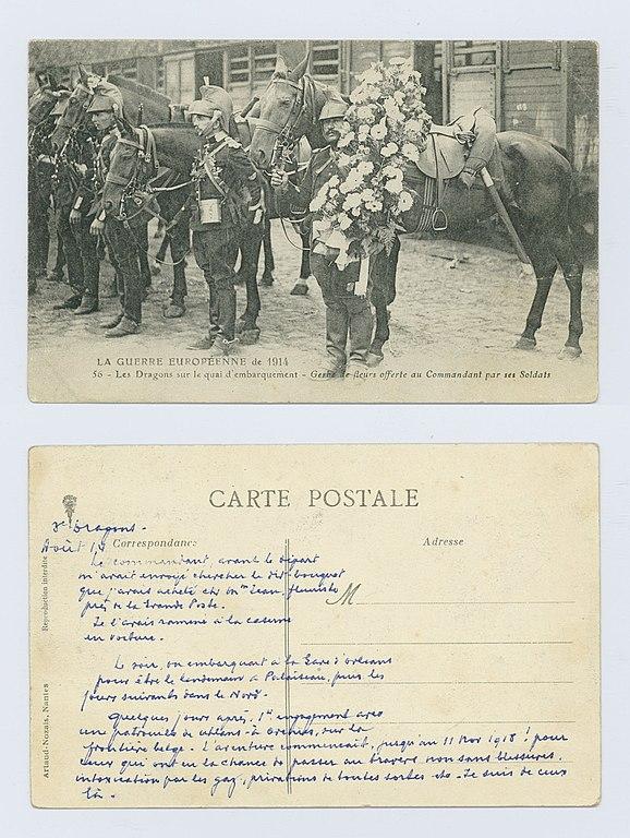 Carte postale ancienne Carte postale d'Eugène Le Marec, photo du 3e dragons au début de la guerre et récit de sa guerre à