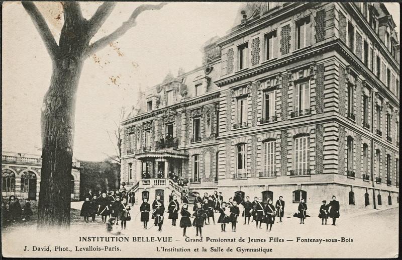 Carte postale ancienne Fontenay-sous-bois, Institution Bellevue, grand pensionnat de jeunes filles (J David, 1904-06)