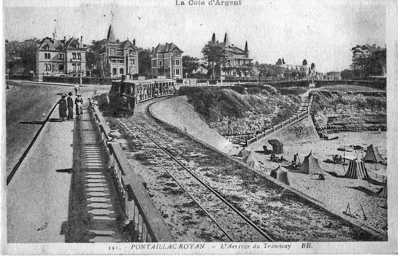 Carte postale ancienne Br 151 - Pontaillac Royan - L'arrivée du Tramway