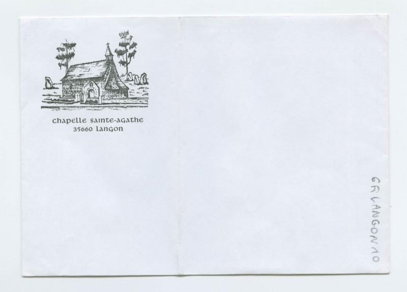 Carte postale ancienne Chapelle sainte-agathe. 35660 Langon.