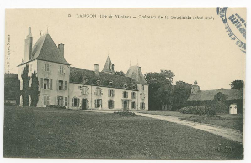 Carte postale ancienne 2.  Langon (Ille-et-Vilaine) - Château de la Gaudinais (Côté sud).