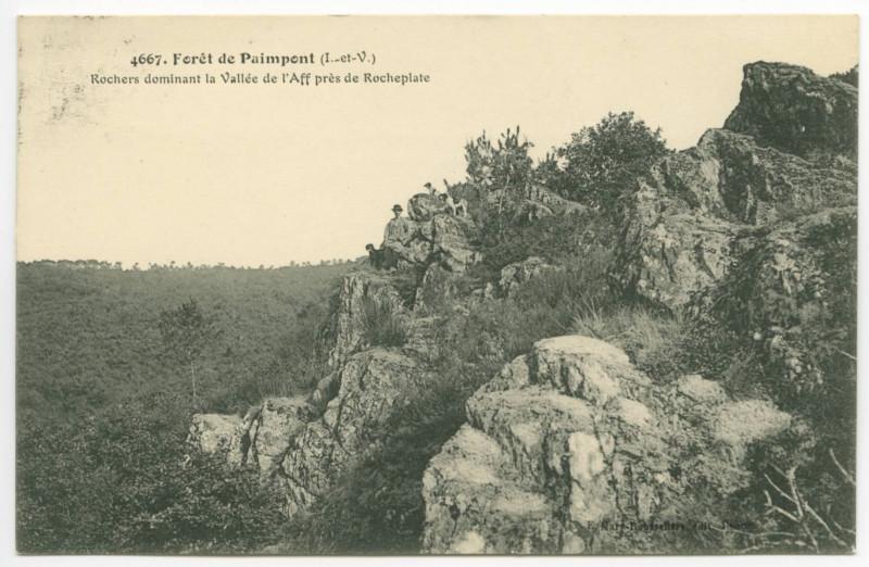 Carte postale ancienne 2129. - Paimpont. - La Forêt. Poème de X. de B. au recto.
