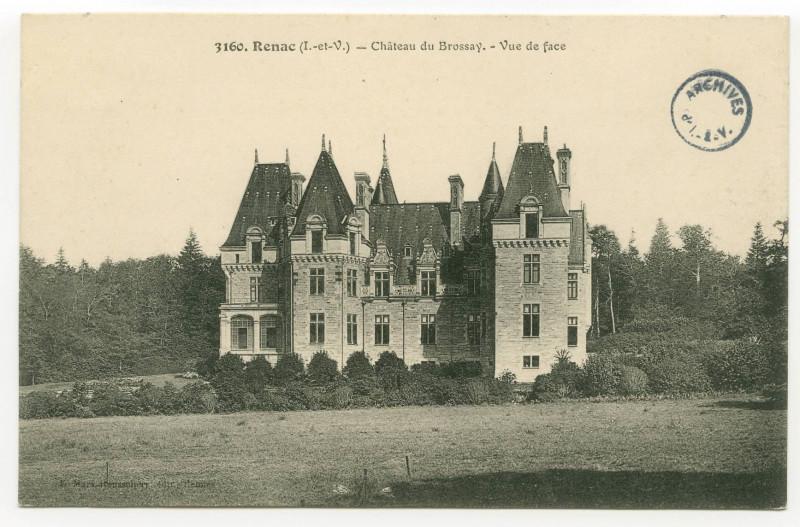 Carte postale ancienne 3160. Renac (I.-et-V.) - Château du Brossay.- Vue de face