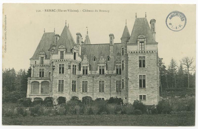 Carte postale ancienne 552.- Renac (Ille-et-Vilaine).- Château du Brossay.