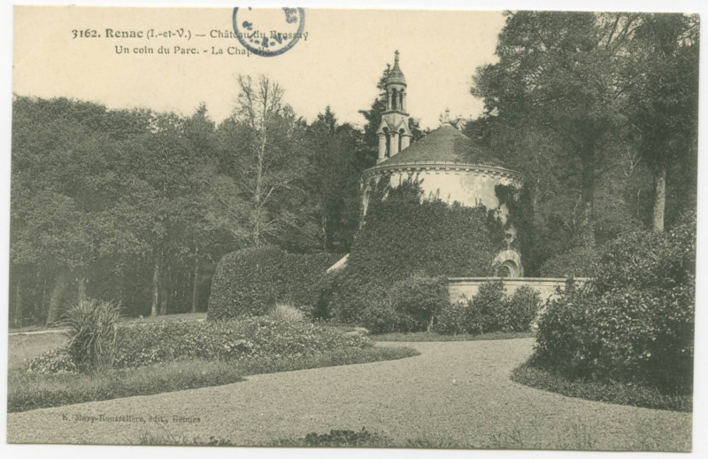 Carte postale ancienne 3162.-  Renac (I.-et-V.).- Château du Brossay - Un coin du parc.- La Chapelle.