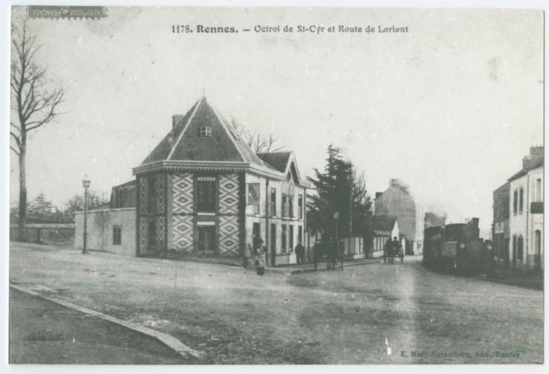 Carte postale ancienne 1178. - Rennes. - Octroi de St-Cyr et Route de Lorient à