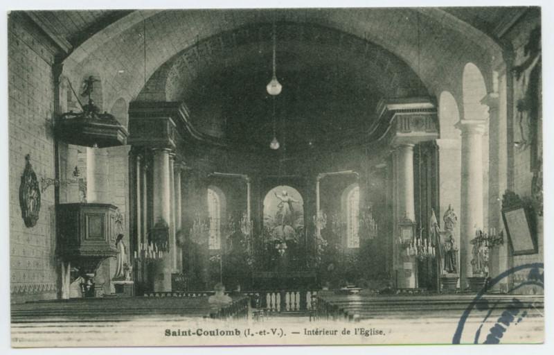 Carte postale ancienne Saint-Coulomb (I.et-V.). - Intérieur de l'Eglise