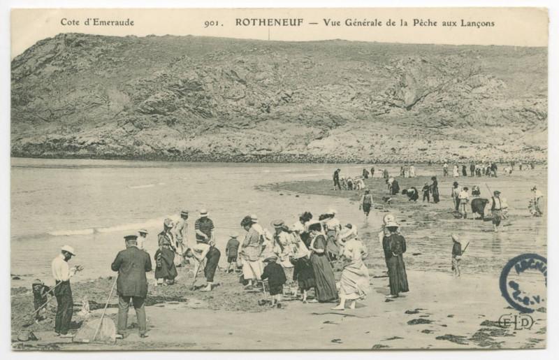 Carte postale ancienne 901- Rotheneuf - Vue Generale de la Pêche aux Lançons. Côte d'Emeraude
