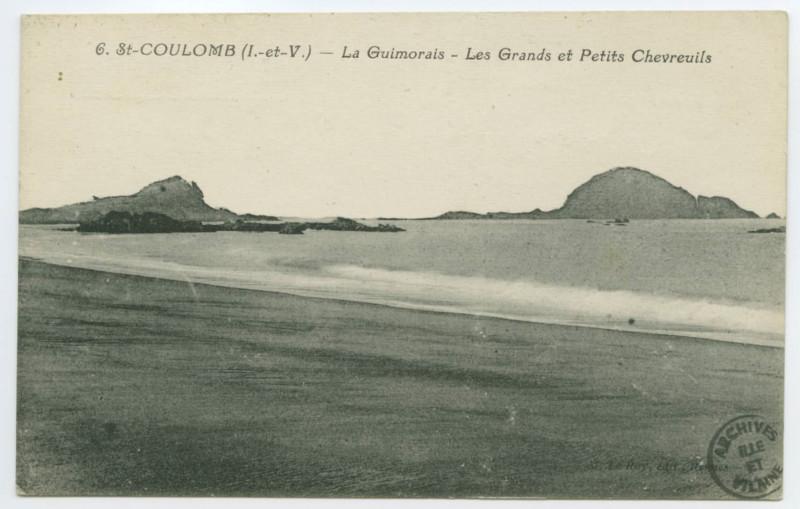 Carte postale ancienne 6. Saint-Coulomb (I.et-V.) - La Guimorais - Les Grands et Petits Chevreuils