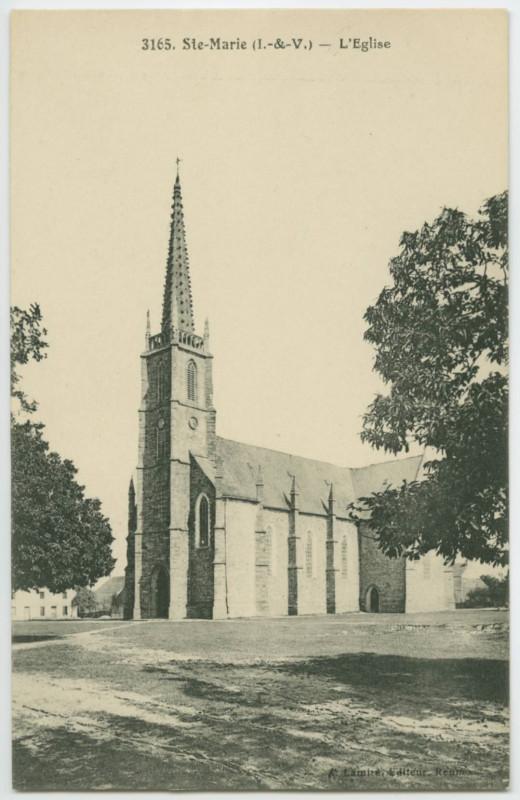 Carte postale ancienne 3165. Ste-Marie (I.-&-V.) - L'Eglise.