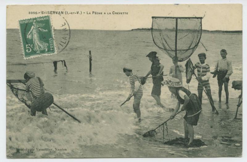 Carte postale ancienne 3356 - St Servan (I.-et-V.) - La pêche à la crevette