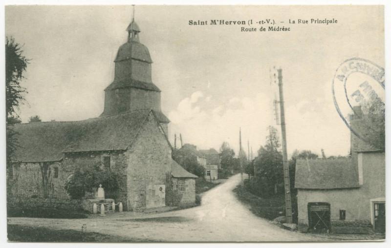 Carte postale ancienne Saint-M'Hervon (I.-et-V.) - La Rue Principale. Route de Médréac.