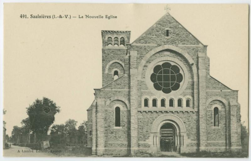 Carte postale ancienne 491.  -Saulnieres (I.-&-V.) - La Nouvelle Eglise