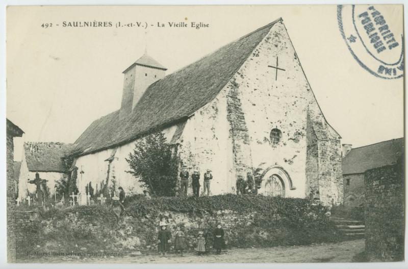 Carte postale ancienne 492. - Saulnieres (I.-et-V.) - La Vieille Eglise
