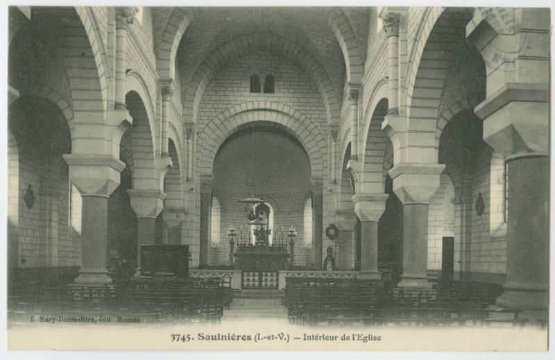 Carte postale ancienne 3745. - Saulnieres (I.-et-V.) - Intérieur de l'Eglise