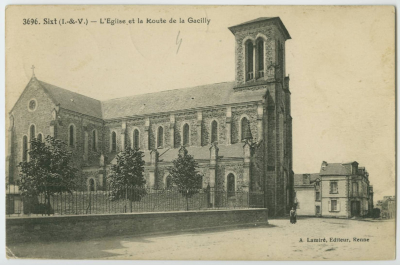Carte postale ancienne 3696. Sixt (I.-&-V.) - L'Eglise et la route de la Gacilly