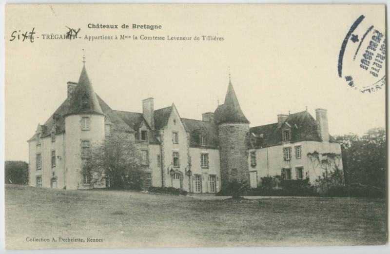 Carte postale ancienne Châteaux de Bretagne - 184 - Tregarey. Appartient à Mme.la Comtesse Leveneur de Tillières.