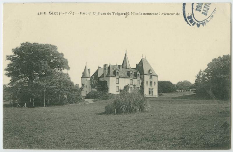 Carte postale ancienne 4516. Sixt (I.-et-V.) - Parc et Château de Trégarey à Mme la comtesse Leveneur de Tillières.